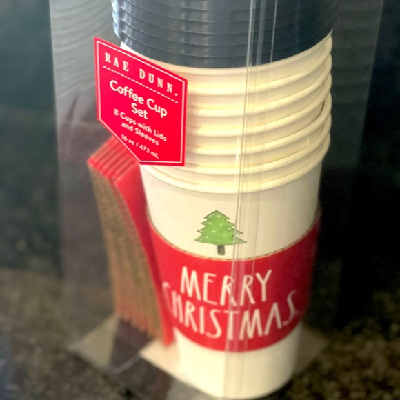 Rae Dunn Merry Christmas paper coffee cup set x8